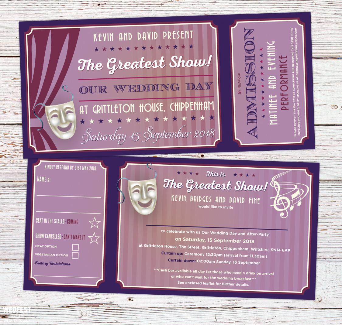 wedfest musical theatre tickets gay same-sex wedding invites