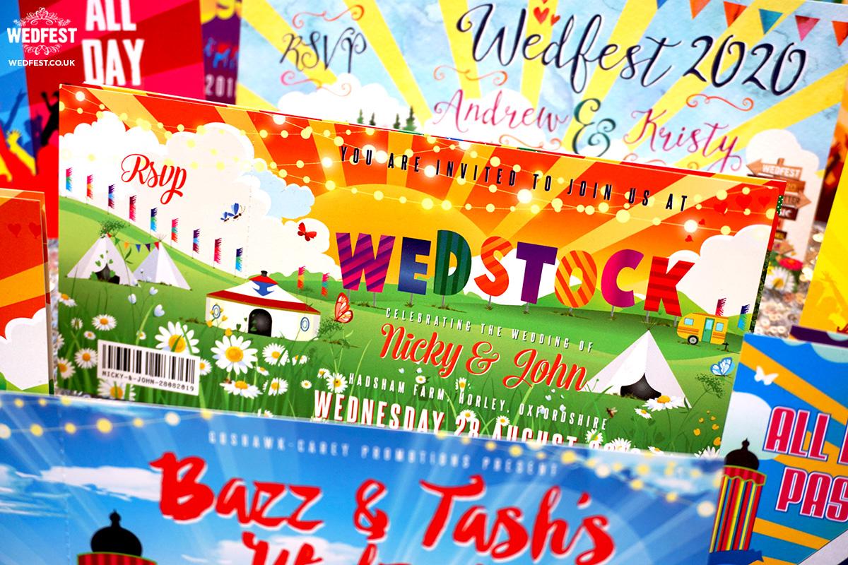 wedstock festival wedding invitations