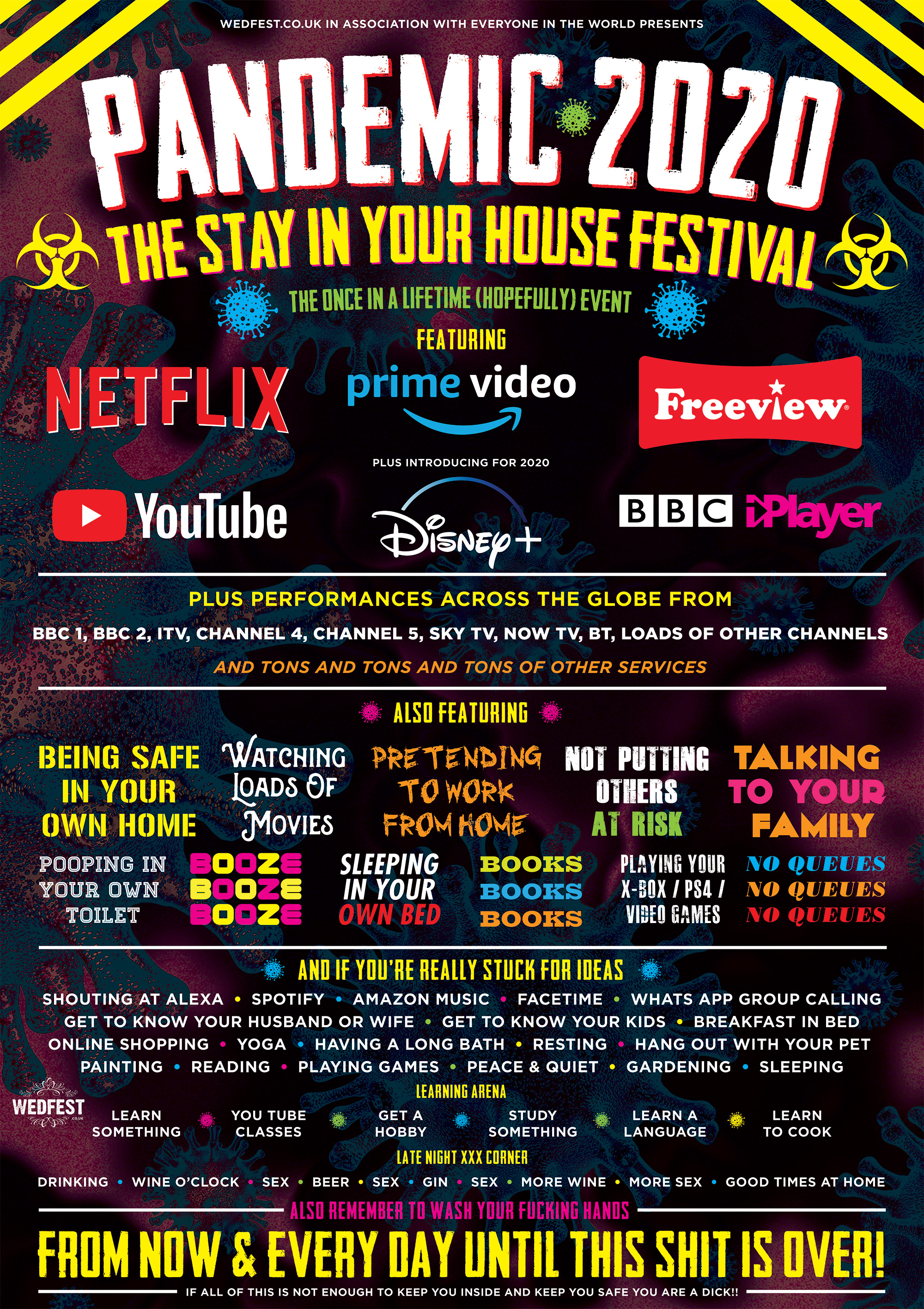 corona virus festival poster stay at home pandemic poster