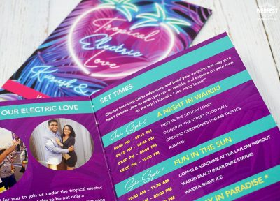edm dance music wedding stationery