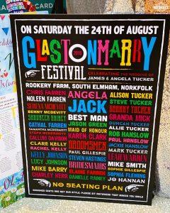 glastonmarry glastonbury festival themed wedding no seating plan poster sign