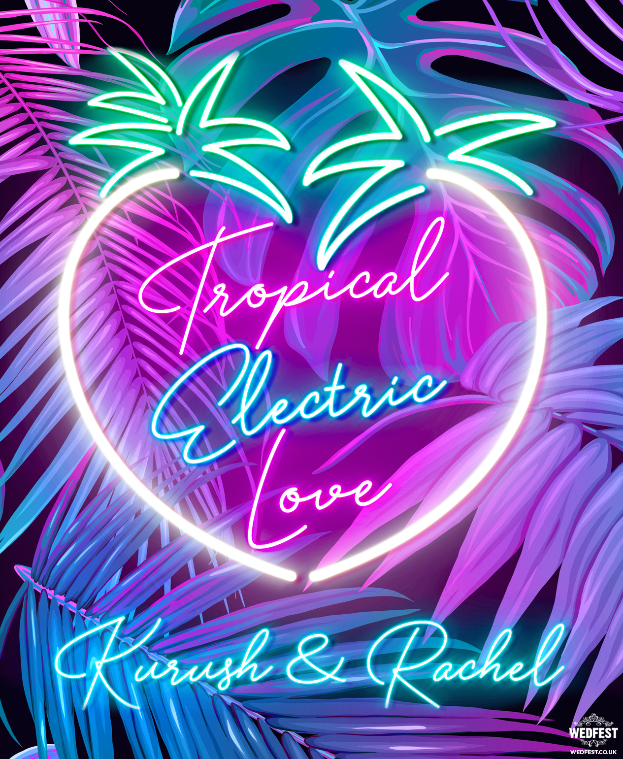 hawaiian theme neon sign wedding invitations