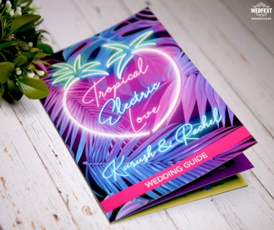 tropical electric love Hawaii wedding booklet