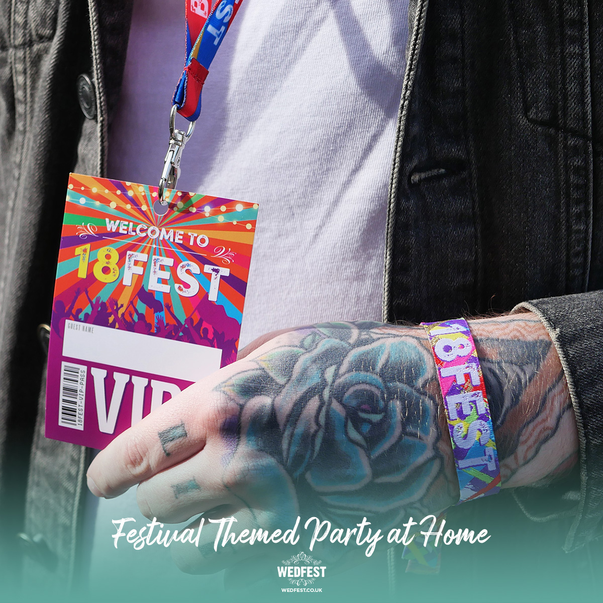 18FEST 18th birthday party festival at home wristbands lanyards party favours
