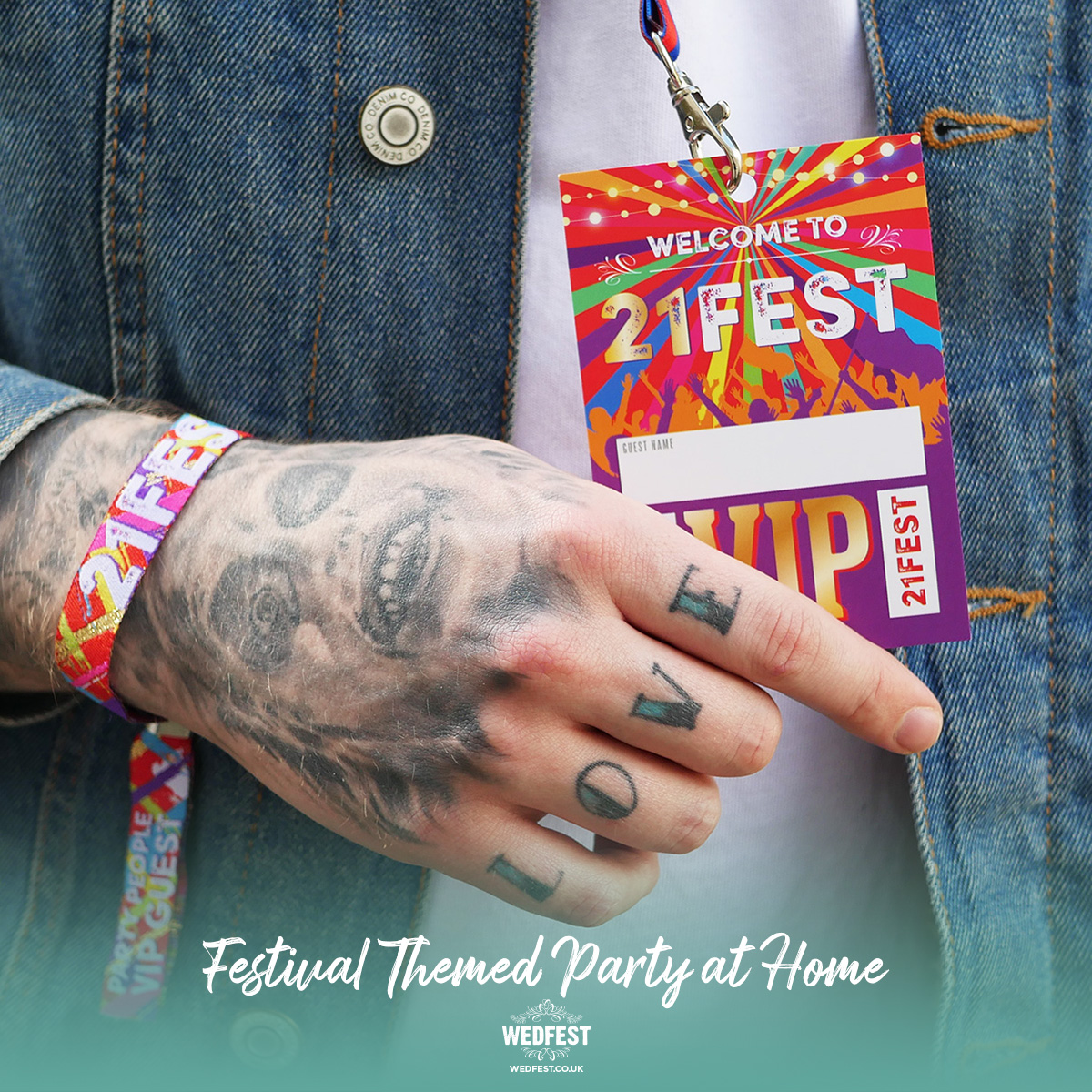 21FEST 21st birthday party festival at home wristbands lanyards favours
