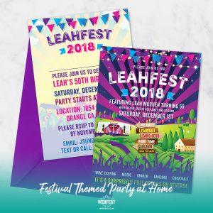 50th birthday party festival theme invitations