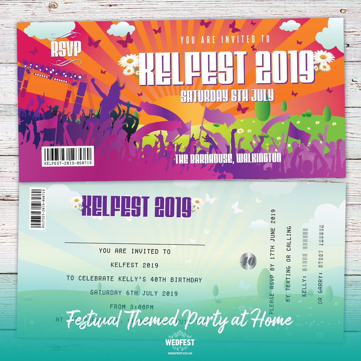 festival themed 40th birthday invitations