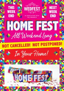 homefest festival at home poster wristbands