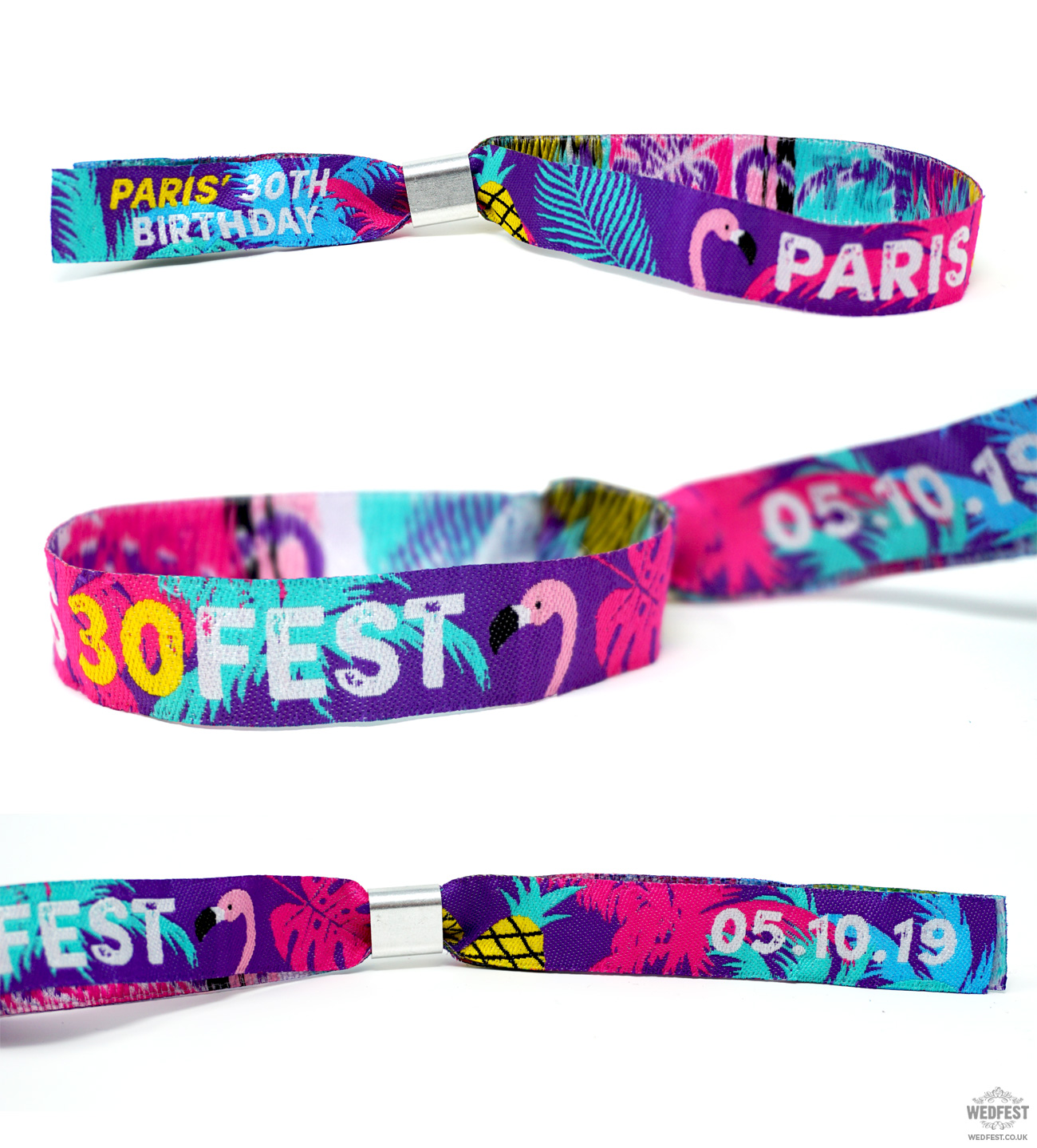 personalised custom 30th birthday party festival wristbands