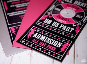 till death do us part wedding rock n roll invites