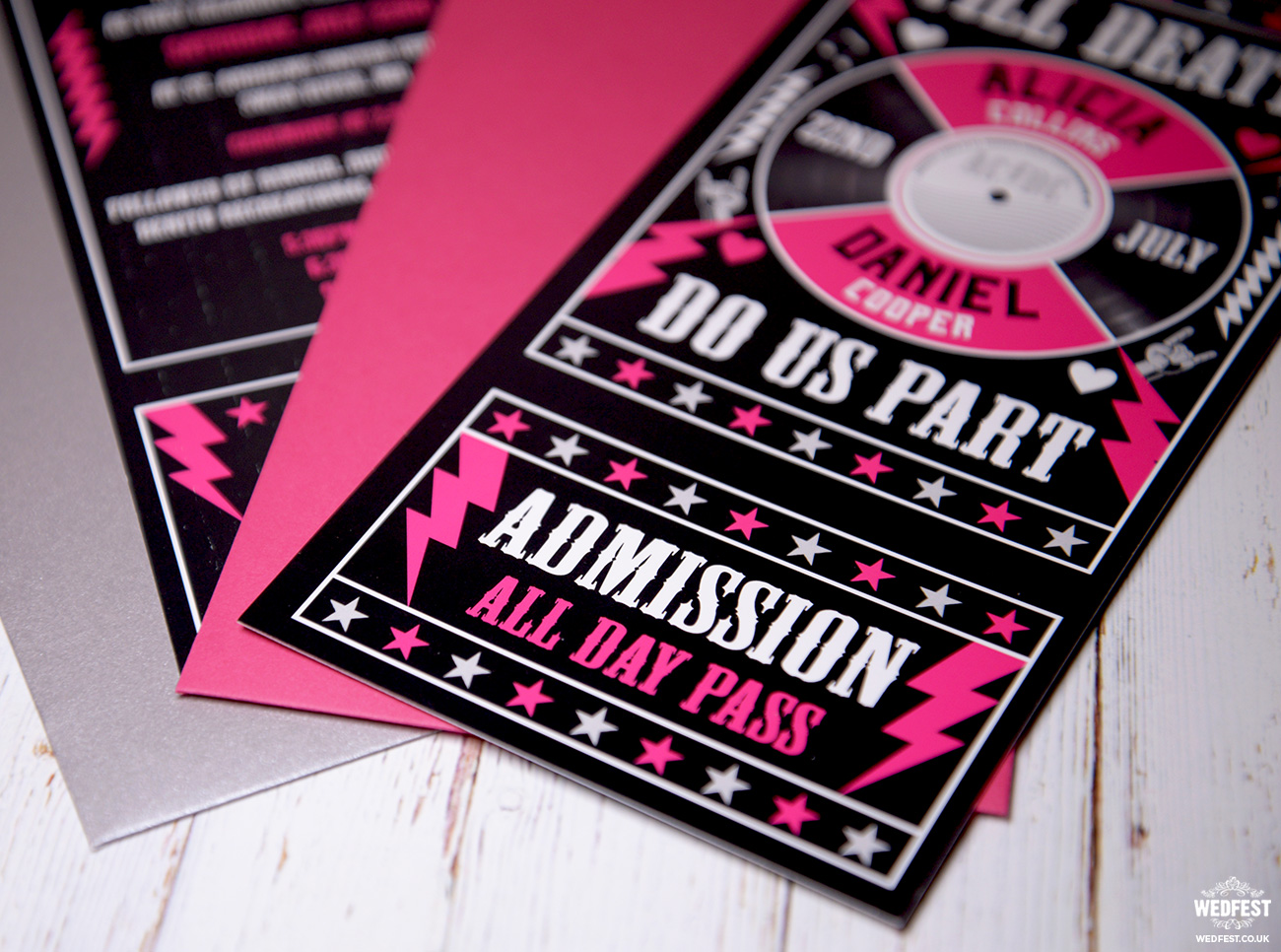 till death do us part wedding rock n roll invites