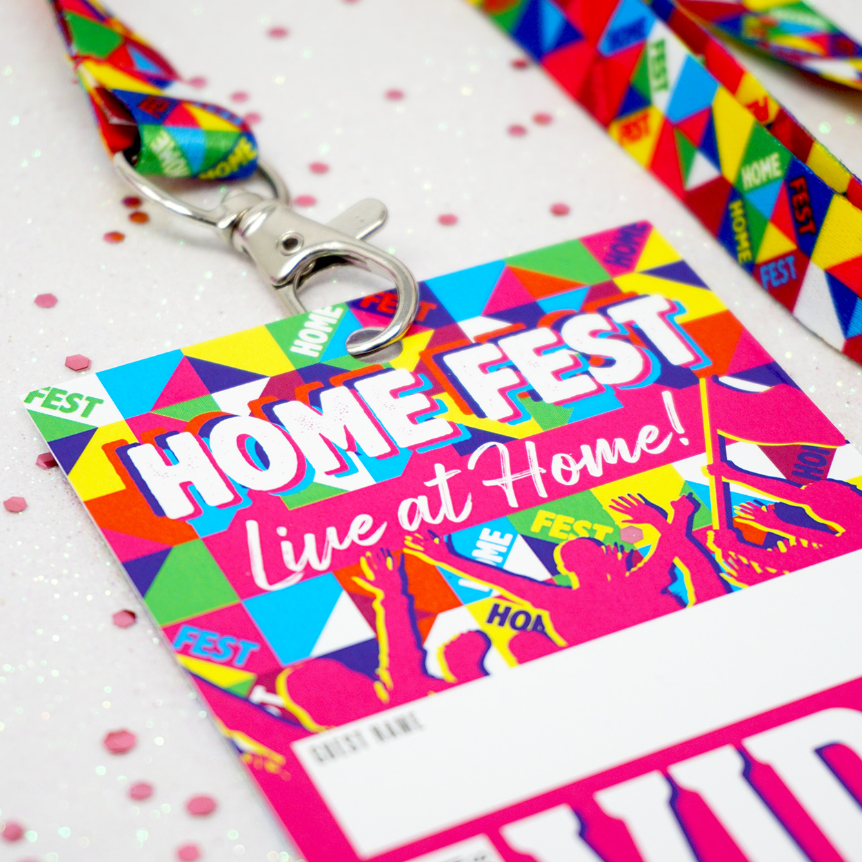 homefest festival at home lanyards wristbands