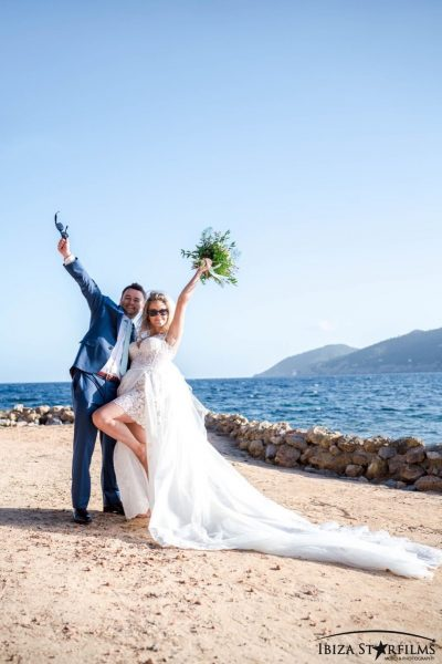 ibiza beach wedding bride and groom