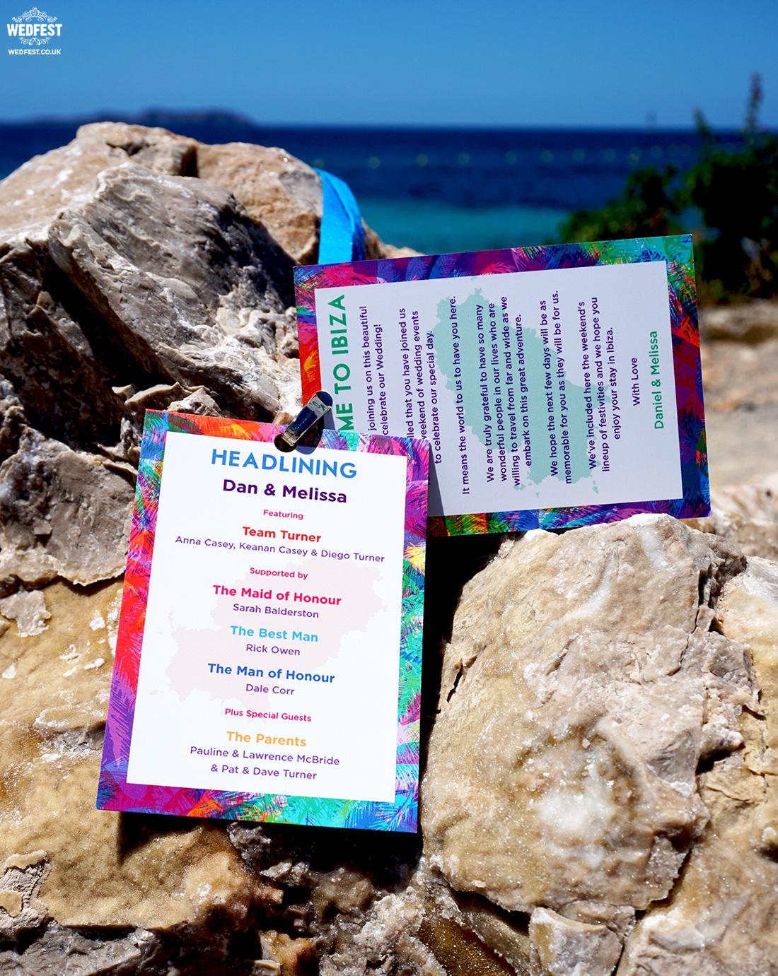 ibiza wedding stationery ideas programme lanyard