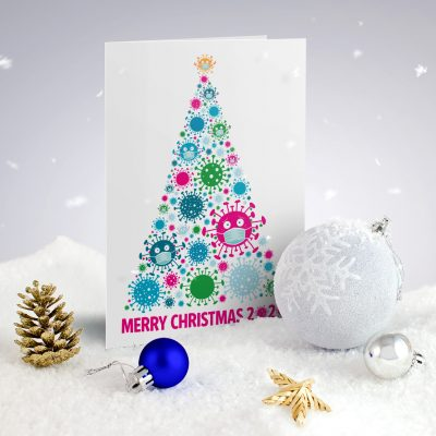 coronavirus christmas tree covid lockdown funny christmas card