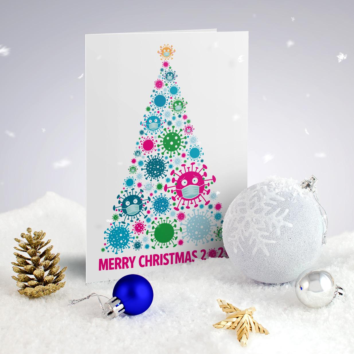 coronavirus christmas tree covid lockdown funny christmas card