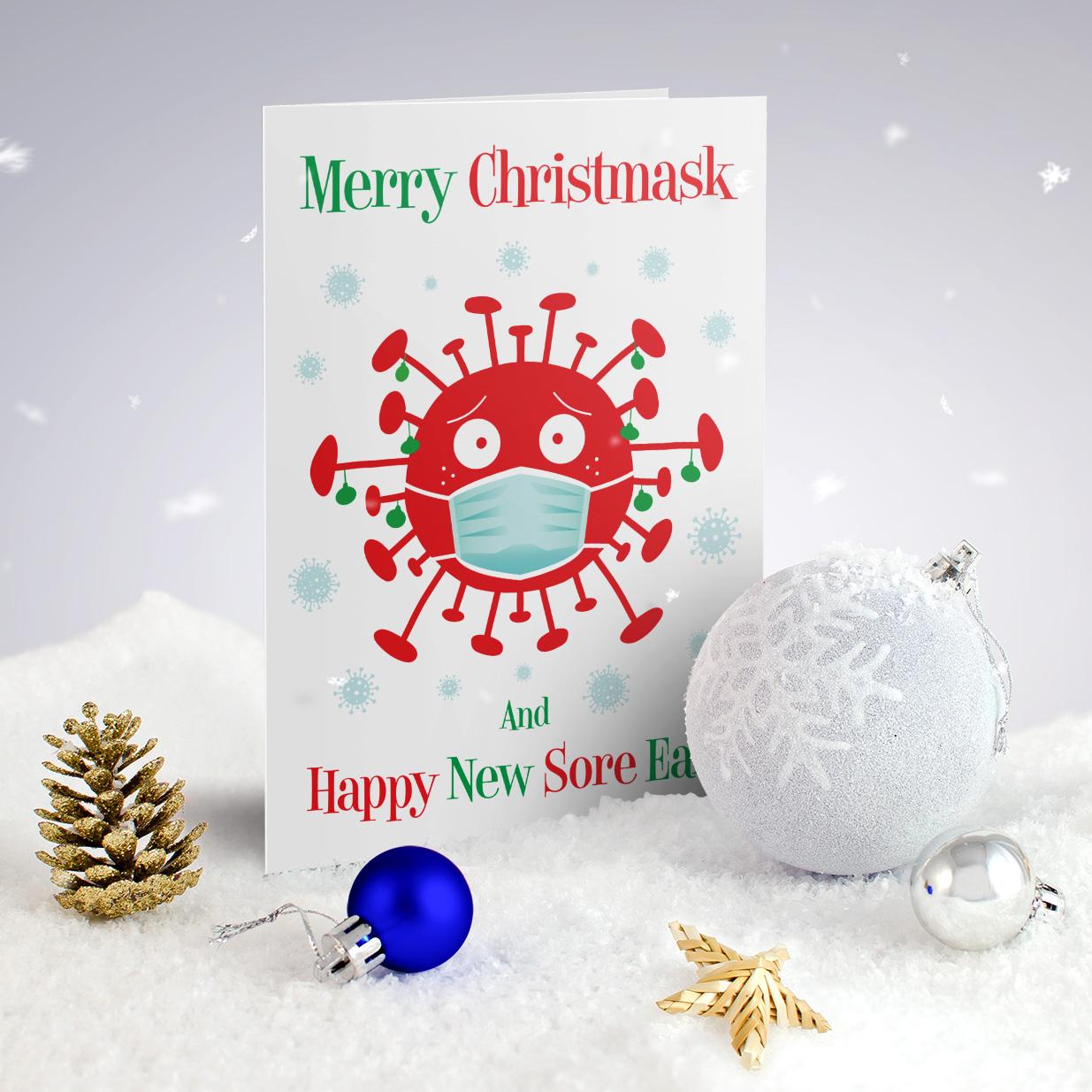 merry christ mask funny coronavirus lockdown christmas cards