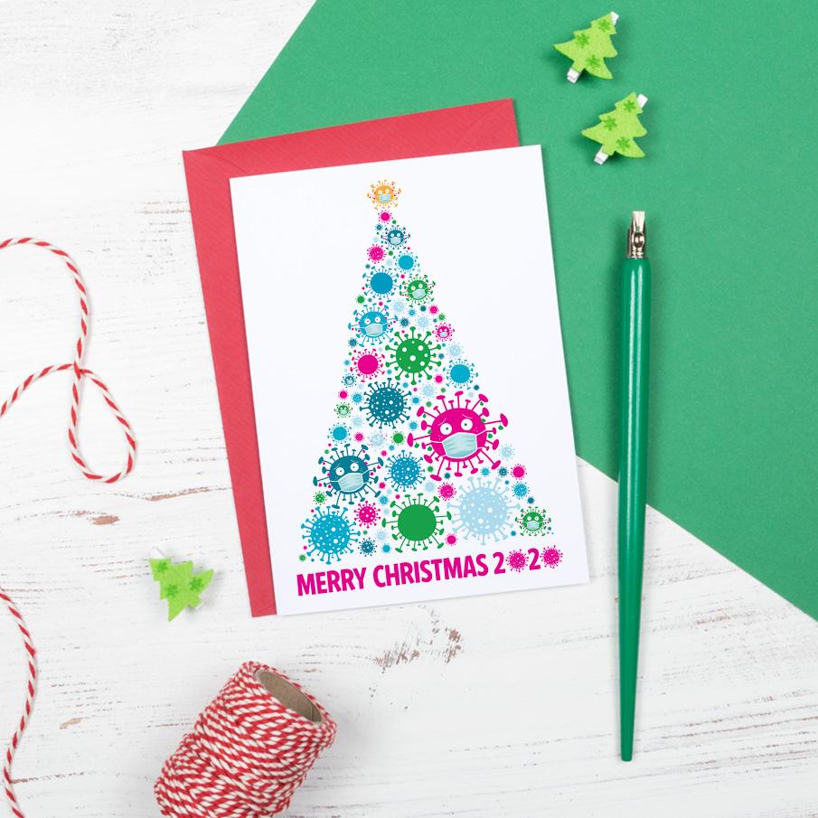 merry christmas 2020 coronavirus covid funny christmas tree card