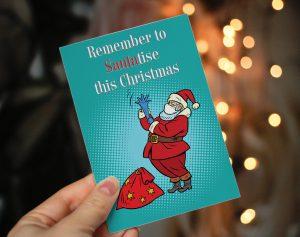 santatise sanitise funny lockdown christmas cards coronavirus covid santa mask