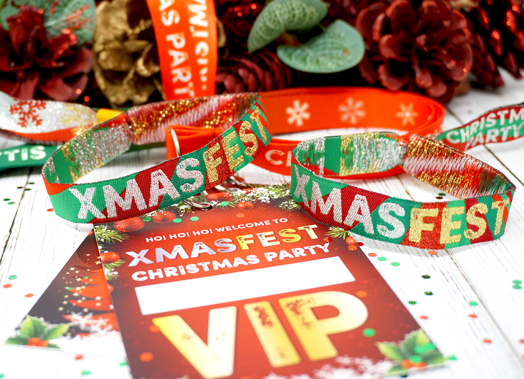 xmas fest festival theme christmas party at home lockdown office lanyards wristbands
