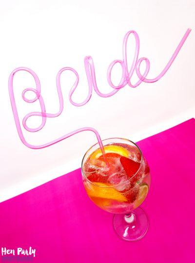 bachelorette hen party bride straw pink straws