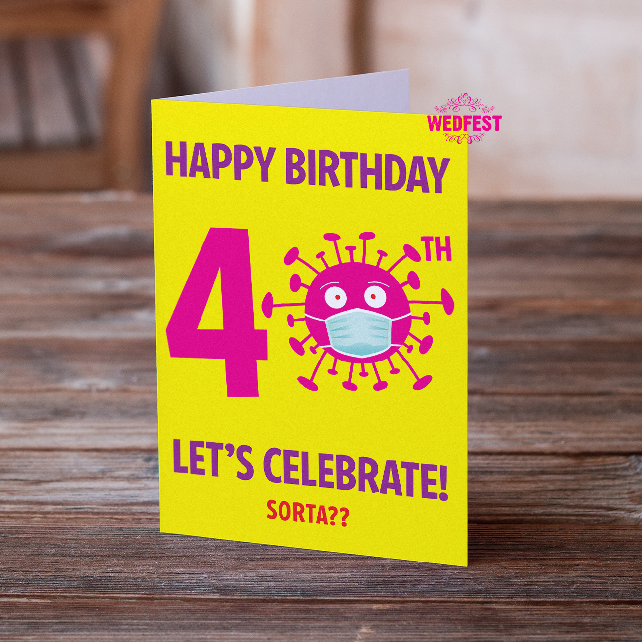 coronavirus covid 40th birthday card