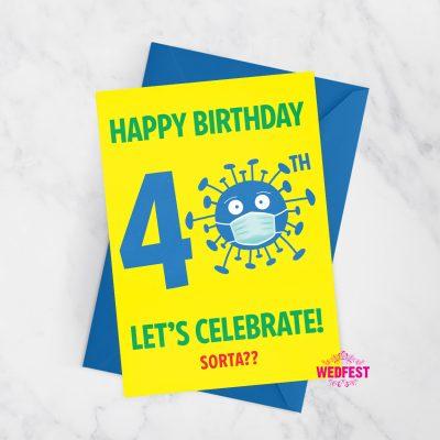 coronavirus covid lockdown 40th birthday card quarantine isolating