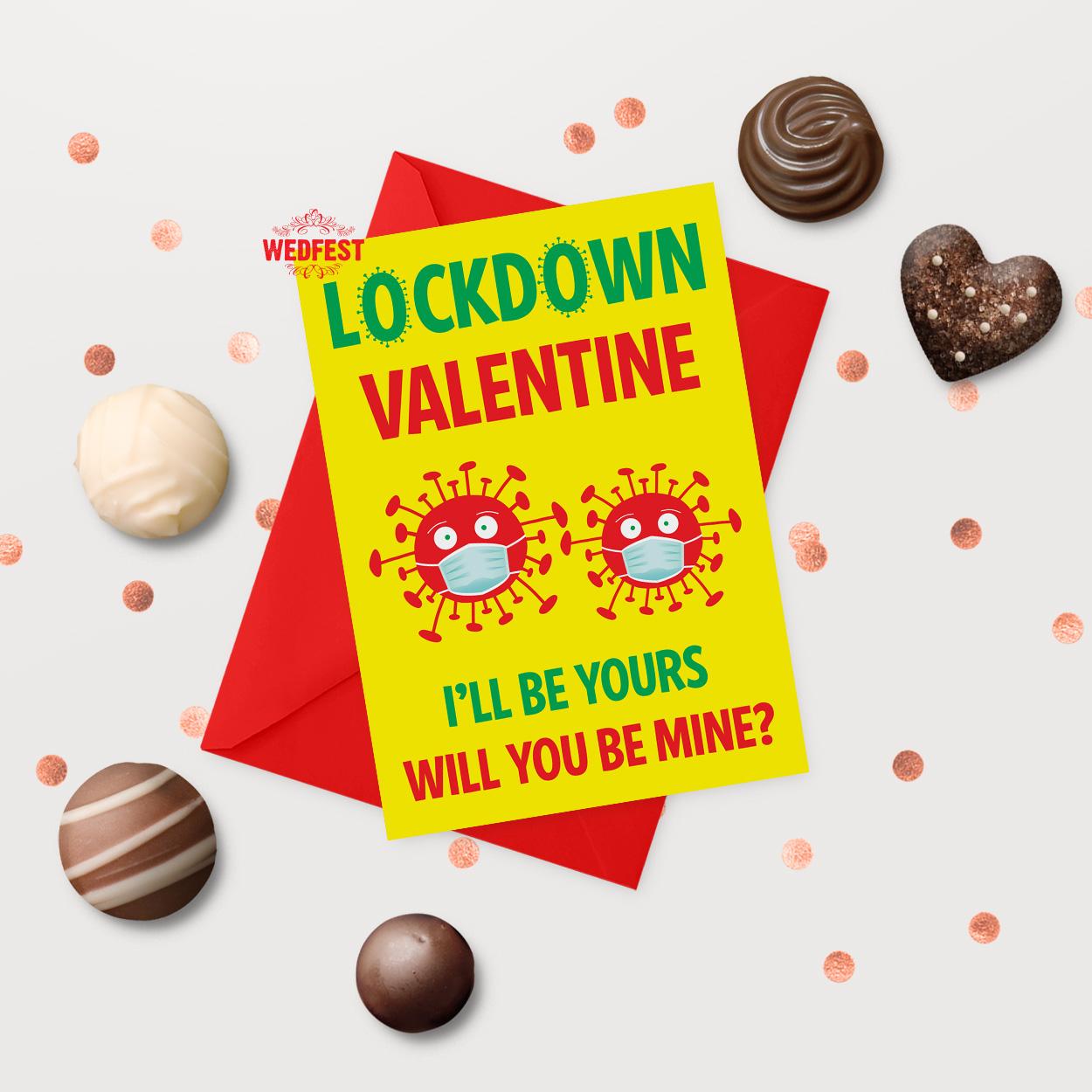 coronavirus covid lockdown valentines day card 2021