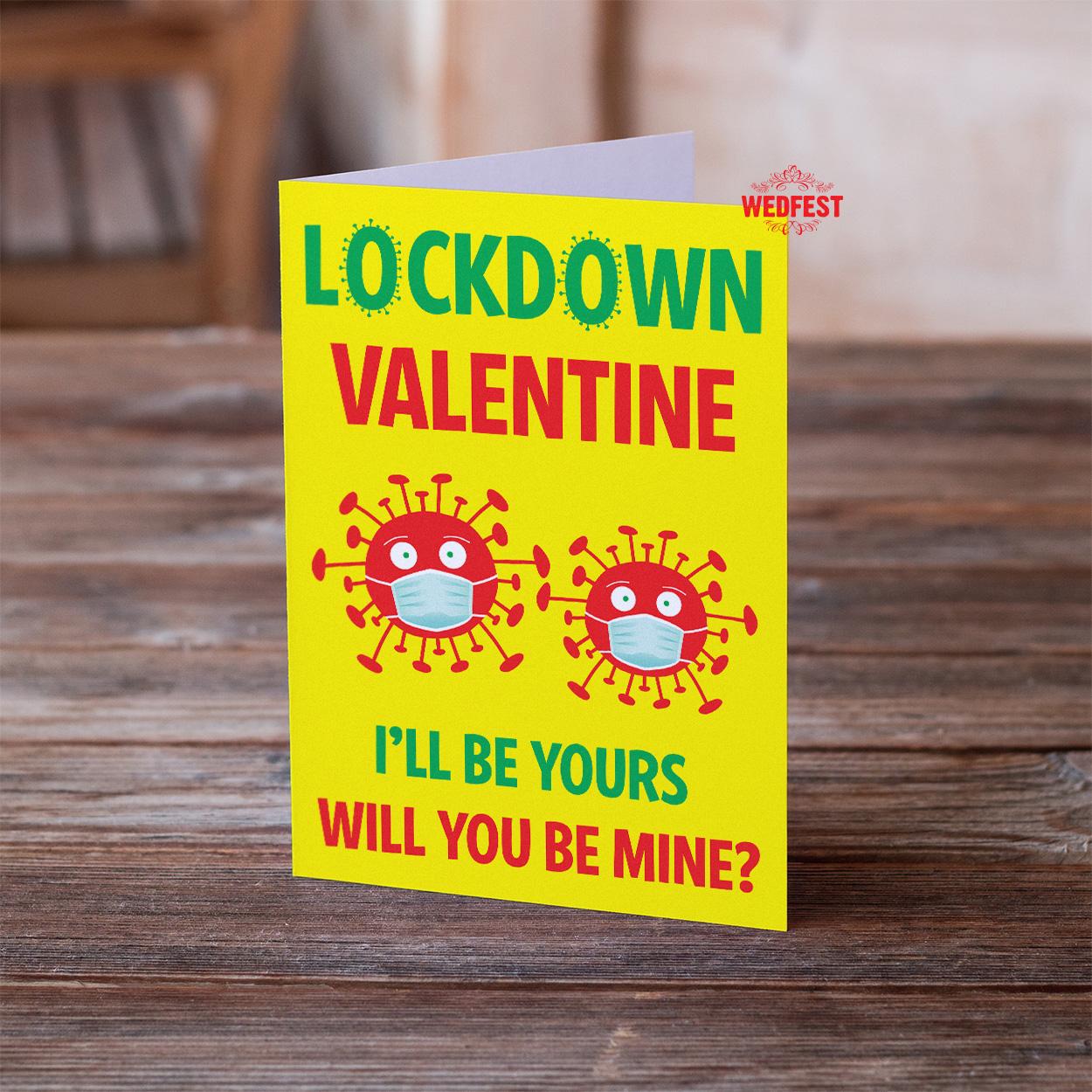 covid coronavirus lockdown valentines day card