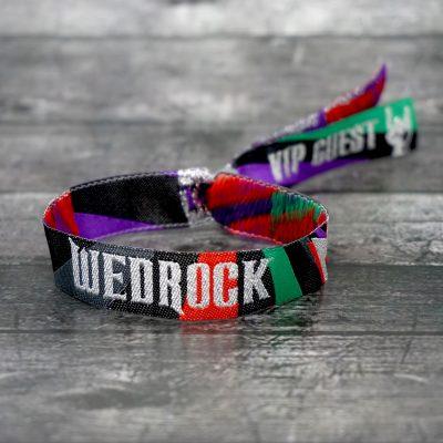 wedrock festival rock n roll wedding wristbands favours